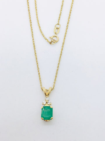 14K Yellow Gold Emerald with Diamonds Pendant & 18 inch chain