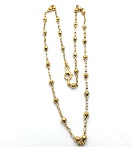 Solid Sterling Silver Gold Vermeil Beaded Necklace with Lobster Clasp, 20""