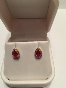 14Kt Gold Ruby Pear Shaped Stud Earrings