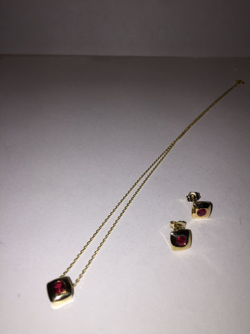 14Kt Gold Ruby Stud Earrings With Pendant and Chain