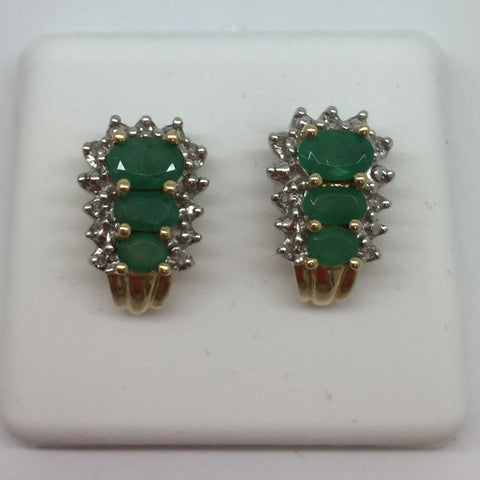 14k Solid Gold Genuine Emeralds & Diamonds Post Earrings