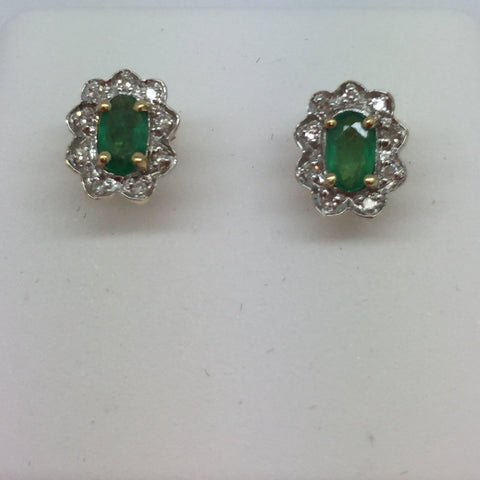 14k Solid Gold Genuine Emeralds & Diamonds Earrings