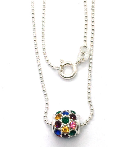 Solid Sterling Silver Bead with Multi-Colored Stones Pendant & Chain