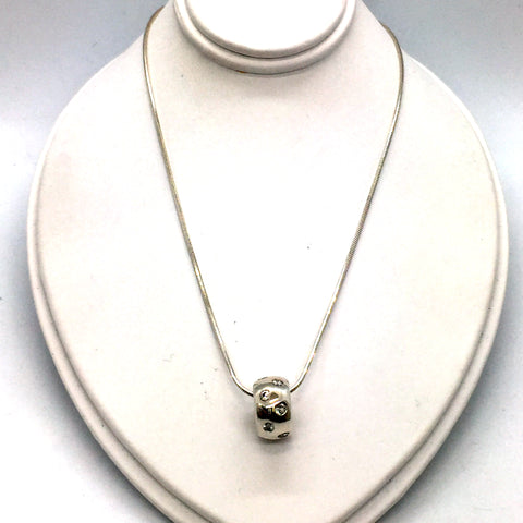 Solid Sterling Silver Bead with Cubic Zirconia Pendant & Chain, 18""