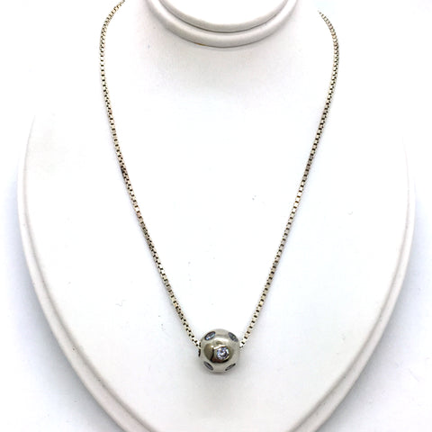 Solid Sterling Silver Bead with Cubic Zirconia Pendant & Chain, 15""