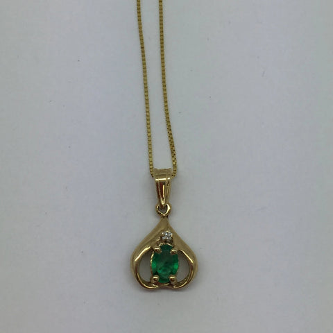 14k Solid Gold Genuine Emerald & Diamond Pendant & Chain