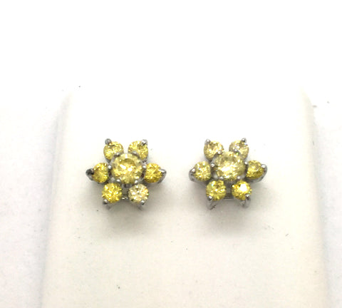 Solid Sterling Silver Cubic Zirconia Yellow Flower Cluster Earrings
