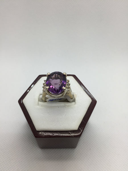 14K Solid White Gold Genuine Amethyst & Diamond Ring