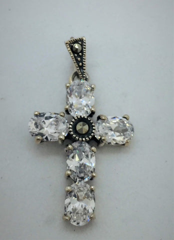 925 Sterling Silver Marcasite and Cubic Zirconia Cross