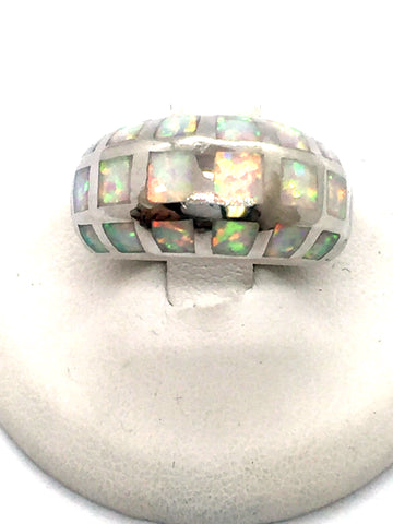 Solid Sterling Silver Handmade Navajo Dome Ring with Opal Inlay