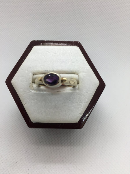 14K Solid Yellow & White Gold Genuine Amethyst Ring, Size 7.5