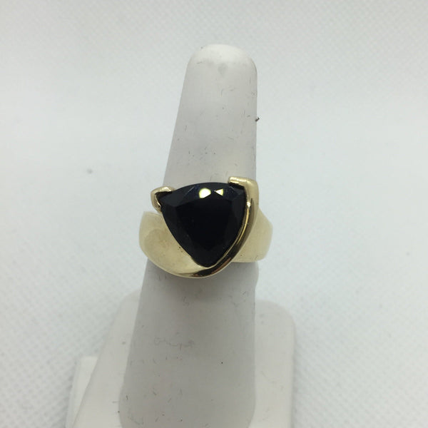 14k Yellow Solid Gold Genuine Black Onyx Ring, Size 6.5