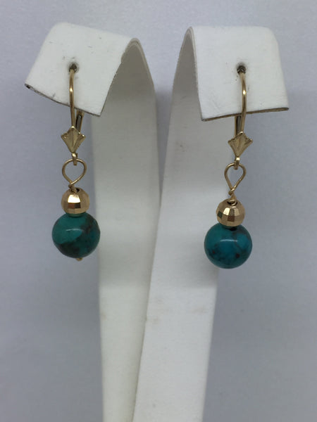 14k Solid Gold Turquoise Bead Leverback Earrings
