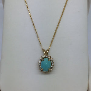 Solid Gold Untreated Turquoise & Diamond Pendant & Chain