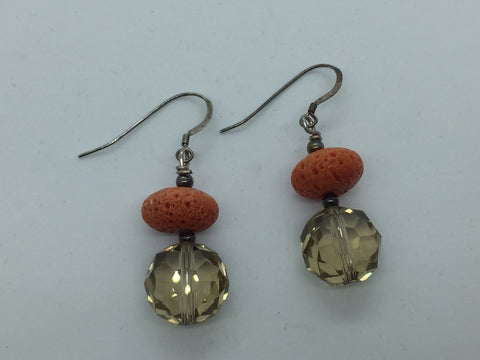 Solid Sterling Silver Genuine Smoky Quartz & Coral Earrings