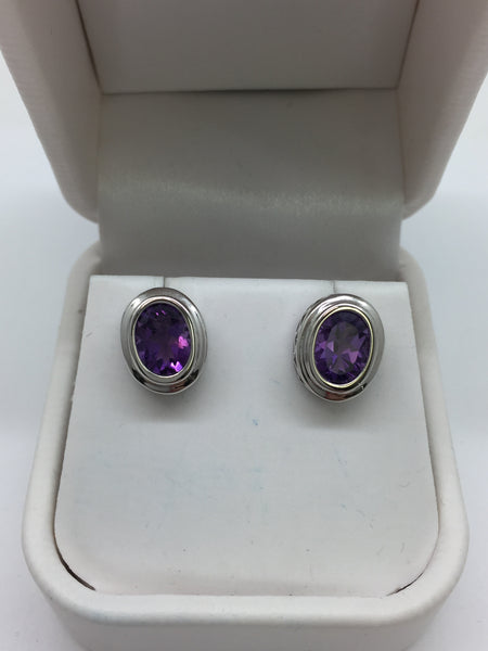 14K Solid White Gold Oval Amethyst Bezel Set Stud Earrings