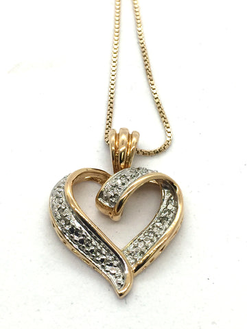 Solid Sterling Silver Gold Vermeil Diamond Pendant & Chain