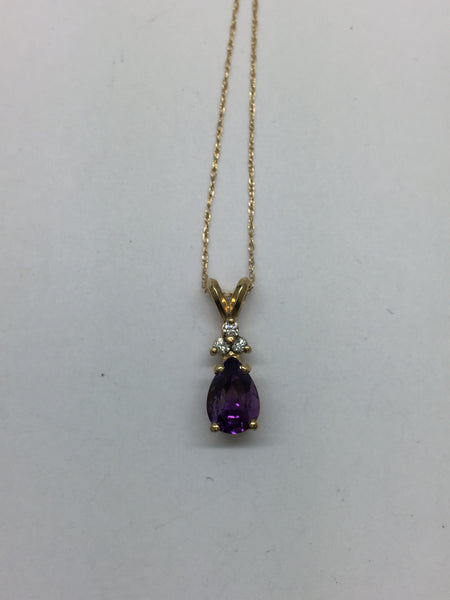 14K Solid Gold Genuine Amethyst & Diamond Pendant & Chain