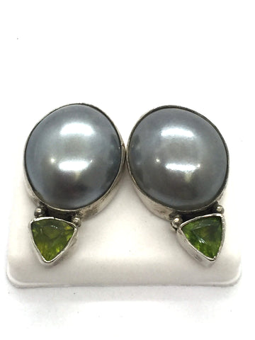 Solid Sterling Silver Large Grey Pearl & Peridot Triangle Earrings