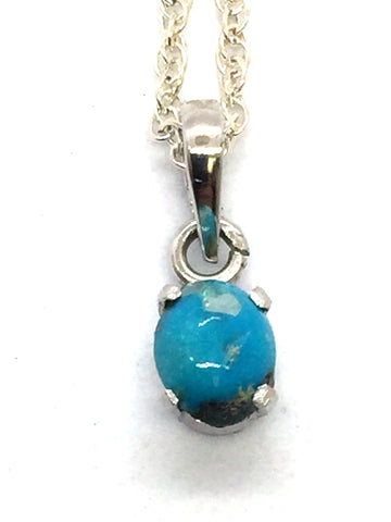 Solid Sterling Silver Genuine Natural Persian Turquoise Pendant & Chain