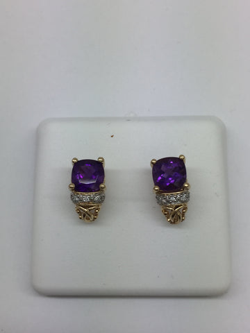 14K Solid Gold Genuine Amethyst & Diamond Post Earrings