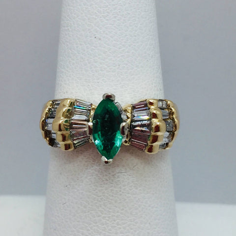 14k Solid Yellow Gold Genuine Marquise Natural Colombian Emerald & Diamond Ring