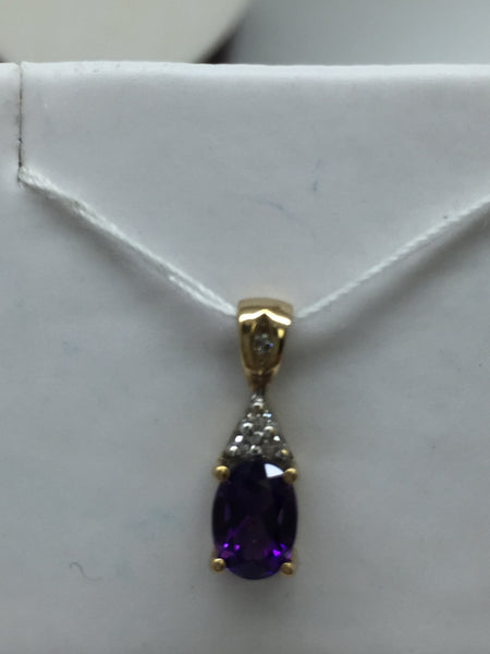 10K Solid Gold Genuine Amethyst & Diamond Pendant