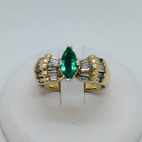 14k Solid Yellow Gold Colombian Emerald & Diamond Ring, Size 6.5, 0.64CTW