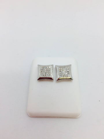 925 Sterling Silver Rhodium Finish .50 Carats 7.5mm X 7.5mm Diamond Square Earrings