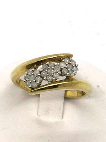 Solid Sterling Silver Gold Plated Diamond Ring