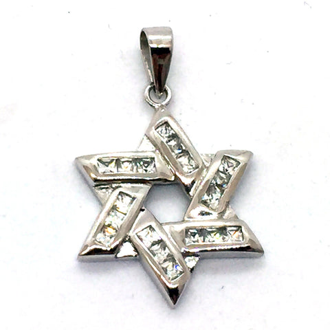 Solid Sterling Silver Rhodium Finished Star of David with Cubic Zirconia Stones Pendant