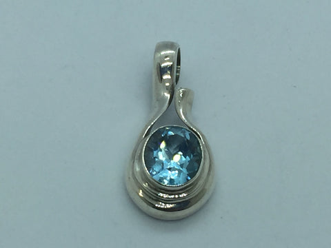 Solid Sterling Silver Genuine Blue Topaz Pendant