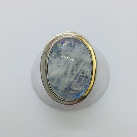 925 Sterling Silver Large Natural Rainbow Moonstone Ring Size 8