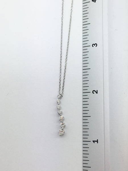 14k Solid White Gold Diamond Pendant & Chain