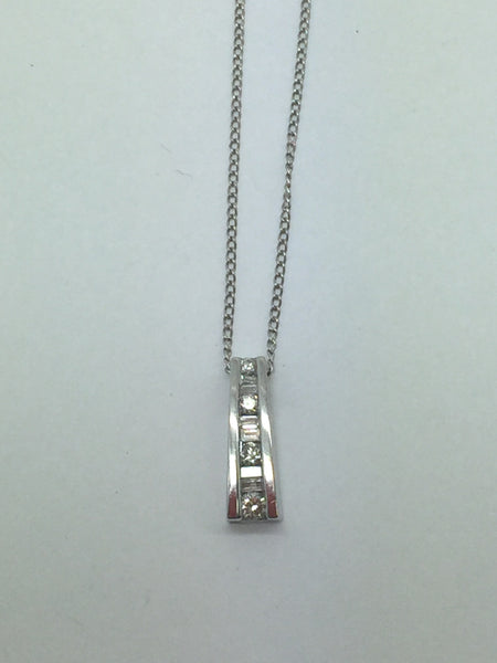 14k Solid White Gold Diamond Pendant & Chain, .50CTW, 16""