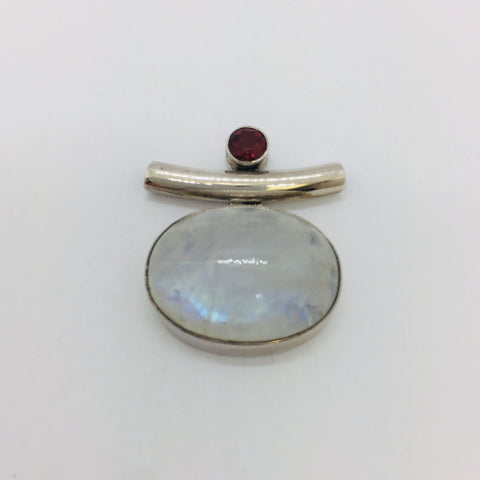 925 Sterling Silver Genuine Rainbow Moonstone SLIDE Pendant w/ garnet