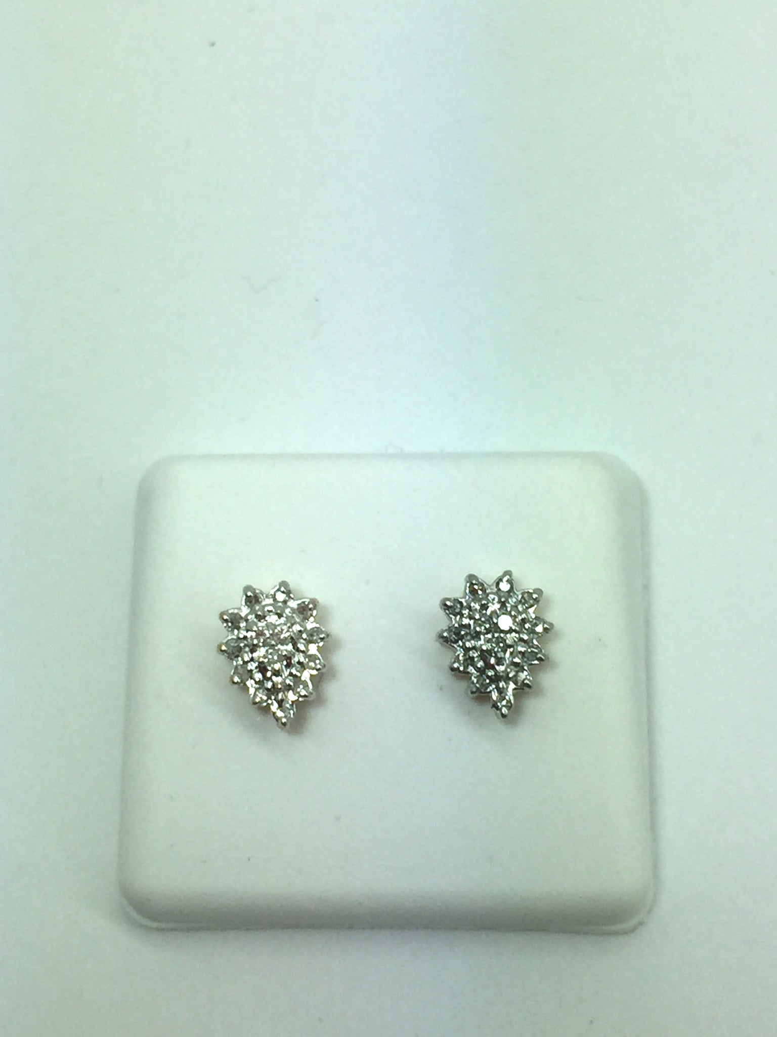 14k Solid Gold Diamond Cluster Post Earrings