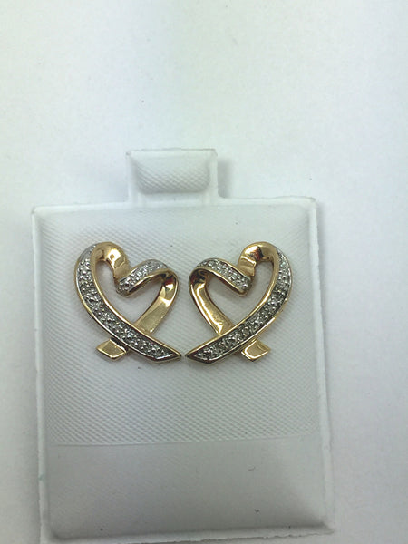 10k Solid Gold Diamond Heart Shaped Post Earrings