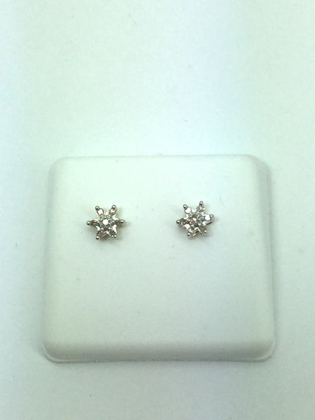 14k Solid Gold Diamond Post Earrings