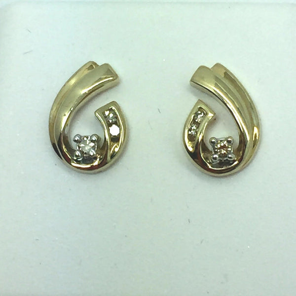 10k Solid Yellow Gold Diamond Post Earrings, 0.15CTW