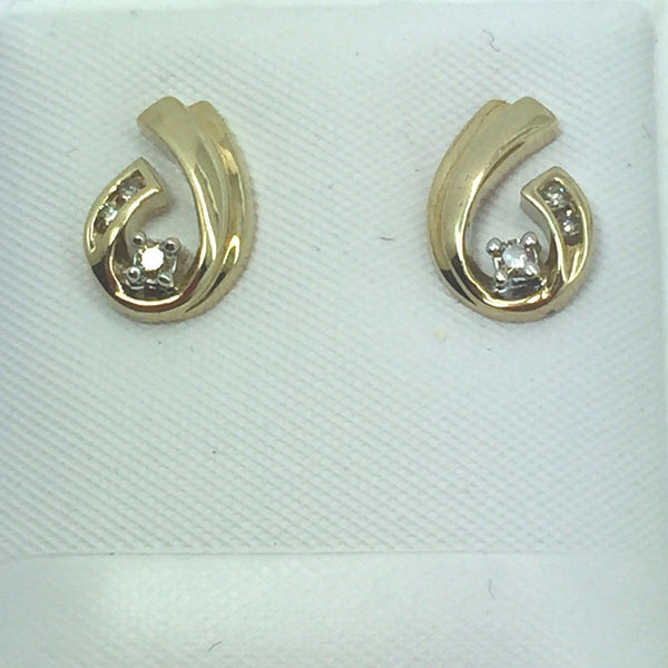 10k Solid Gold Diamond Post Earrings