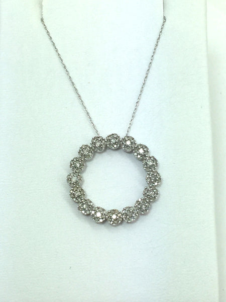 10k Solid White Gold Diamond Pendant & Chain