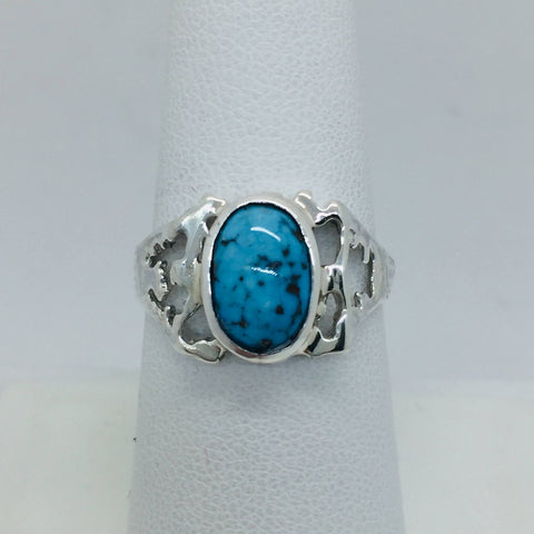 925 Sterling Silver Untreated Natural Matrix Persian Turquoise Ring Size 7.25