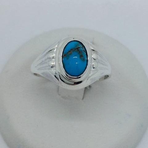 925 Sterling Silver Untreated Natural Matrix Persian Turquoise Ring Size 6.5
