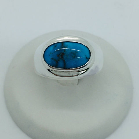 925 Sterling Silver Untreated Natural Matrix Persian Turquoise, Ring Size 7