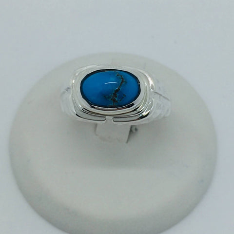 925 Sterling Silver Untreated Natural Matrix Persian Turquoise Ring Size 7.5