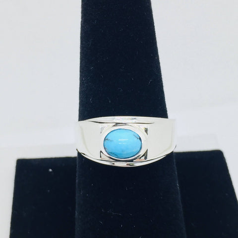 925 Sterling Silver Untreated Natural Matrix Persian Turquoise Ring Size 9.5