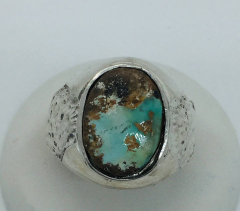 925 Sterling Silver Natural Persian Turquoise Ring Size 10.25