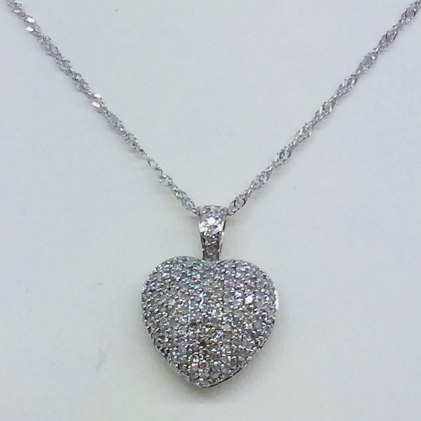 14k Solid White Gold Diamond Heart Pendant & Chain