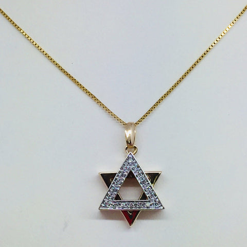 14k Solid Gold Diamond Star Of David Pendant & Chain